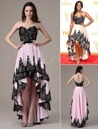 porsha williams wedding porsha williams emmys illusion pink lace taffeta high low dress