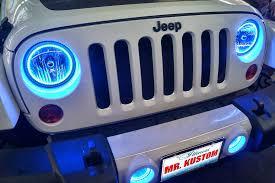 2012 jeep wrangler blue halo headlights rings mr kustom auto