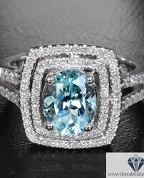 aquamarine and diamond ring oval cut aquamarine diamond pave halo split shank