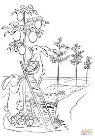 bunnies are decorating trees with easter eggs coloring page free