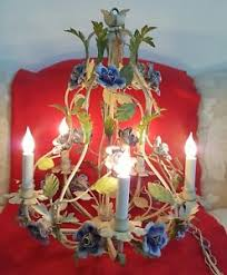 porcelain chandelier roses vintage italian tole chandelier blue porcelain roses birdcage