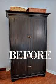 Black Armoire Milk Paint Furniture Upcycle Celebrate U0026 Decorate