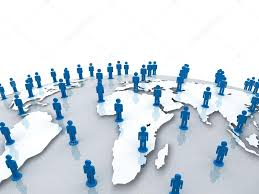 World Globe Map Social Network People On World Globe Map Over White U2014 Stock Photo