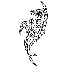 beautiful tribal hammerhead shark with turtle tattoo design