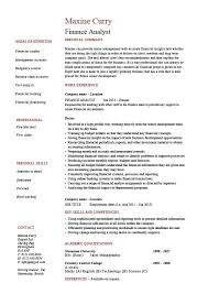 First Time Resume Samples by Finance Resume Template A Professional Resume Template For A