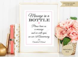 bridal shower sign in book message in a bottle sign printable file message in a