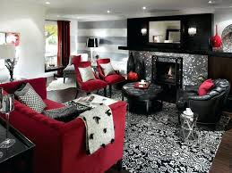 living room well apointed red and black living room decorating