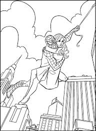carrying spiderman mary jane coloring picture kids spiderman