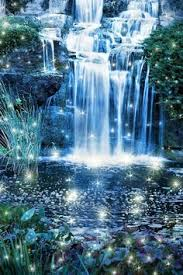 pretty waterfall with flowers and double rainbows rainbow