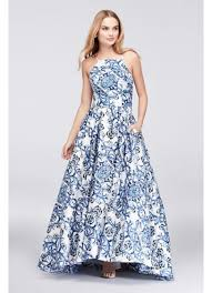 betsy and adam dresses printed satin halter gown with lace up back david s bridal
