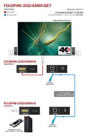 4k displayport extender over single sc fiber optic cable fo dp4k