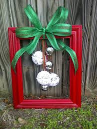 empty frame painted add green bow tie on ornaments