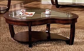 Crystal Coffee Table by Amazon Com Crystal Falls Dark Cherry Finish Glass Top Coffee
