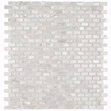 splashback tile of pearl mini brick pattern 11 1 4 in x 12