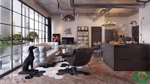 modern industrial kitchen industrial kitchen area wooden floor leather lounge chair shelves