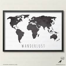 Black World Map by Black And White Map Large World Map Print Wanderlust Map