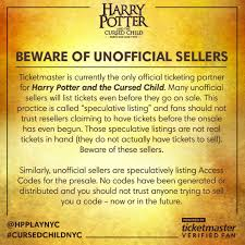 ticketmaster verified fan harry potter cursed child nyc on twitter tickets will be released at 11 am on