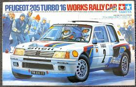 peugeot 206 turbo peugeot 205 turbo 16 works rally car salonen vatanen tamiya 1 24