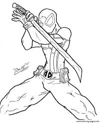 deadpool ninja coloring pages printable
