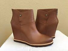 s ugg australia brown emalie boots ugg australia leather wedge ankle boots for ebay