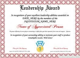 leadership award template for employees or students free