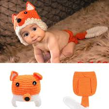 lovely fox newborn baby photography props knitted infant baby
