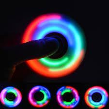 fidget spinner light up blue led light up color show tri fidget spinner never not clever