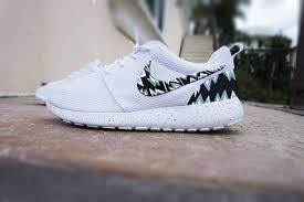 nike roshe design custom nike roshe run shoes white with grey and black aztec