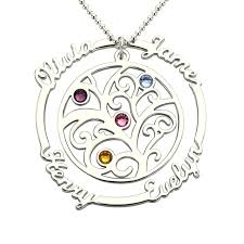 birthstone mothers necklace family tree necklace with birthstone silver sted