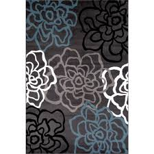 Area Rugs Modern Contemporary Modern Floral Flowers Gray 9 Ft X 12 Ft Area Rug
