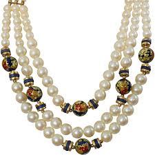 big pearls necklace images Vintage cloisonne pearl necklace japan glass pearls and enamel jpg