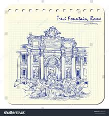 trevi fountain rome italy sketch imitating stock vector 415201237