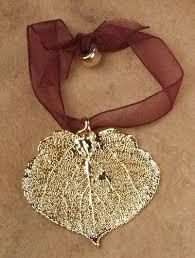 leaf ornament aspen gold plated real leaf