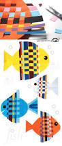 fish from interwoven colored paper strips craft summer