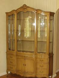 Drexel Heritage China Cabinet Vtg Drexel French Provincial Breakfront China Hutch Bowed Glass