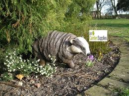 uk garden supplies badger animal garden ornament