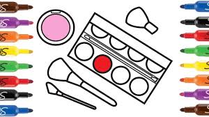 draw makeup coloring pages cosmetics brushes