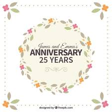 twenty fifth anniversary floral wreath twenty fifth anniversary vector free