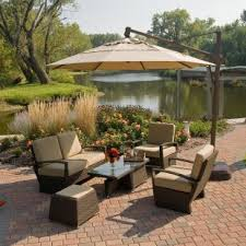 Patio Offset Umbrellas Treasure Garden 10ft Cantilever Rotates 360 Degrees And Tilts