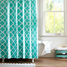 Curtains With Turquoise Clover Turquoise Shower Curtain