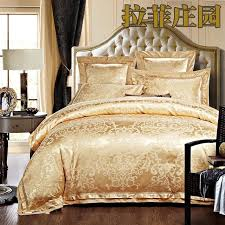 Bedding Sets Luxury 4 6pcs Green Jacquard Satin Bedding Set King Luxury Tribute
