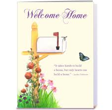 new home with mailbox flowers greeting card by la paperie