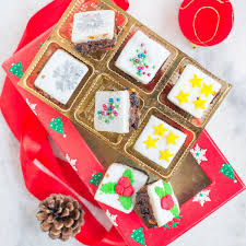 buy mini christmas brownie squares with marzipan u0026 fondant from