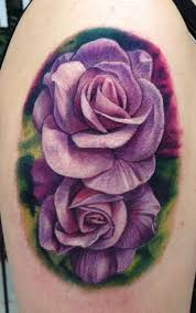purple roses by pepper tattoos
