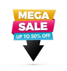 mega sale banner yellow and pink colors royalty free vector