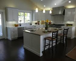 Grey Wood Floors Kitchen by Dark Hardwood Floor With White Cabinets Kitchen Luxurious Home Design