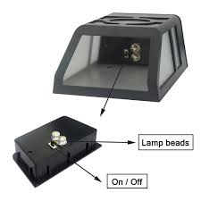 solar deck accent lights 4pcs outdoor solar powered wall mount 2led mission style solar deck