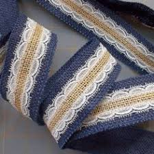 navy lace ribbon navy burlap with beige lace ribbon 25 inch x 3 by cherrycheckers