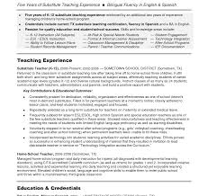 resume for substitute teaching position pre k teacher job description for resume collection of solutions