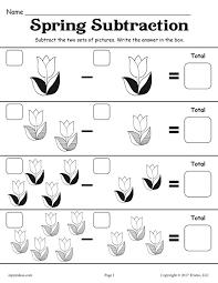 free printable spring subtraction worksheet